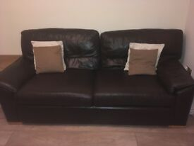 Large brown leather sofa and chair.