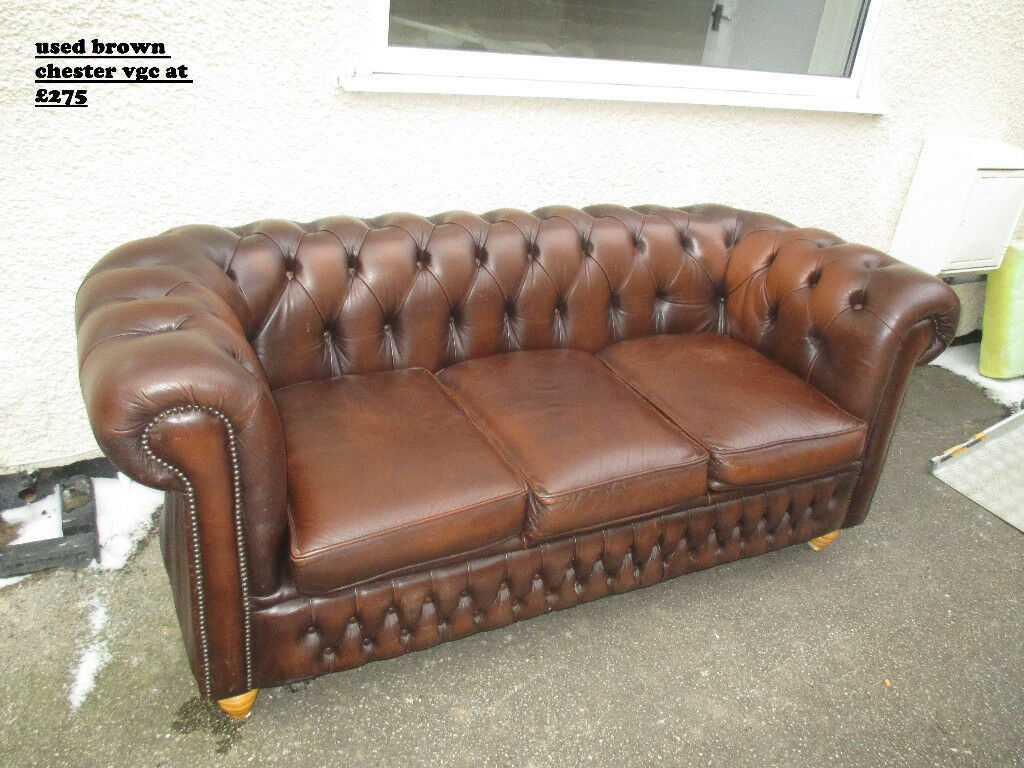 Brown Leather Chesterfield Sofa 3seat Chair Used In N Wales