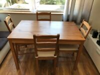 Table & 4 chairs with seat pads