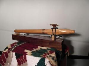 Hawk Totem in walnut with cherry flute- Native American Style Flute - F# key