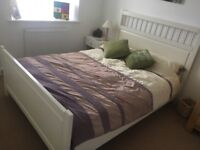 Ikea cream double bed and mattress
