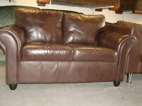 Brown Leather 2 Seater Sofa Settee. Good Condition