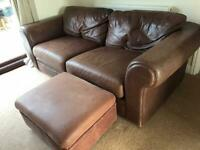 Large leather sofa, armchair and footstool
