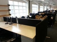 RECTANGULAR / STRAIGHT OFFICE DESK WITH DRAWERS AND DESK SCREEN / CALL CENTRE DESKS