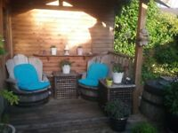 Solid oak garden chairs