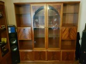 1970's solid wood display unit.
