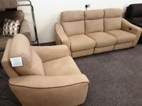 Designer Brown Fabric Electric Recliner 3 Seater Sofa & Armchair Can/Del View Hucknall Nottingham