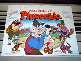 *RARE* LARGE 1978 DISNEY ANIMATION PINOCCHIO MOVIE ADVERTISING POSTER