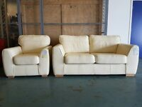 INEZ 2 SEATER LEATHER SOFA / SETTEE / SUITE & INEZ ARMCHAIR / CHAIR IN VANILLA / CREAM CAN DELIVER