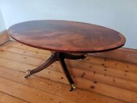 Early 20th Century Regency Style Oval Flame Mahogany Coffee Table / Side Table . Edwardian Antique