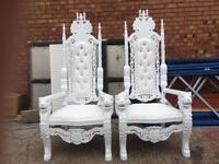 2x BRAND NEW Lion King Throne Chairs (180cm) - White Wedding Luxury French Italian Furniture Asian