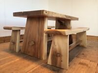 Unique Chunky heavy solid wood dining table with chairs or benches