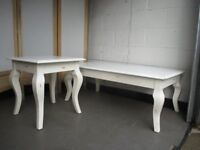 LARGE MODERN WHITE COFFEE TABLE WITH MATCHING SIDE TABLE PAIR OF TABLES FREE DELIVERY