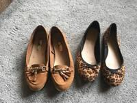 2 pairs Primark ladies flat shoes size 5/38 used £3