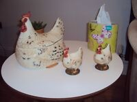 Hen and 2 chickens egg container.