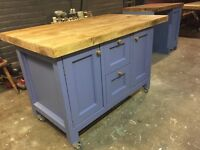 Freestanding kitchen island with breakfast bar solid timber