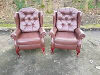 Chesterfield style genuine leather wingback chairs EXCELLENT CONDITION! BARGAIN!