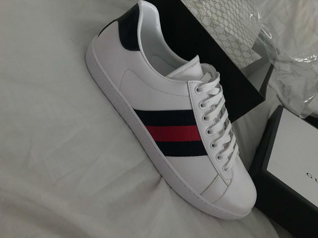 54ddd597313 Gucci Ace Men uk9 white and navy trainers. Bordesley Green ...