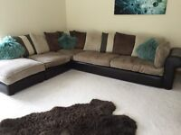 Large corner sofa fabric and leather