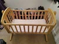 Mamas and Papas Breeze Rocking Natural Wooden Crib / Cot