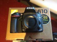 NIKON D610 camera body, lens, wifi adapter, case, extras