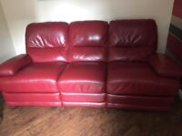2 x 3 seater red leather CSL recliner sofas + recliner chair