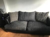 2 Black & grey sofas & poof