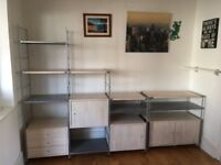 Shelving unit - Great condition with 3 drawers, 2 cupboards, 10 shelves, separate smaller unit