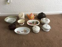 Mixed selection of china and 1 small white metal lidded casserole dish