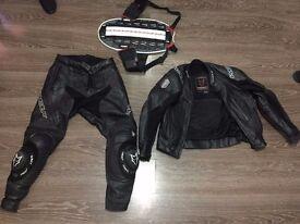 Motorcycle leathers plus back/spine brace set