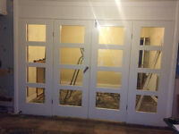 Wall partition - set of wooden doors - glass. white. aprox 4m wide. Fully removed!
