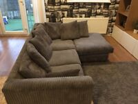 Grey couch - corner, 3 seater and footstool