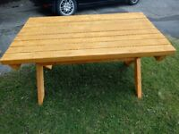 Handmade Wooden 4x2 Garden Table.
