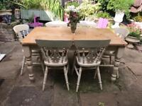 Large shabby chic French Farmhouse dining table 6 chairs