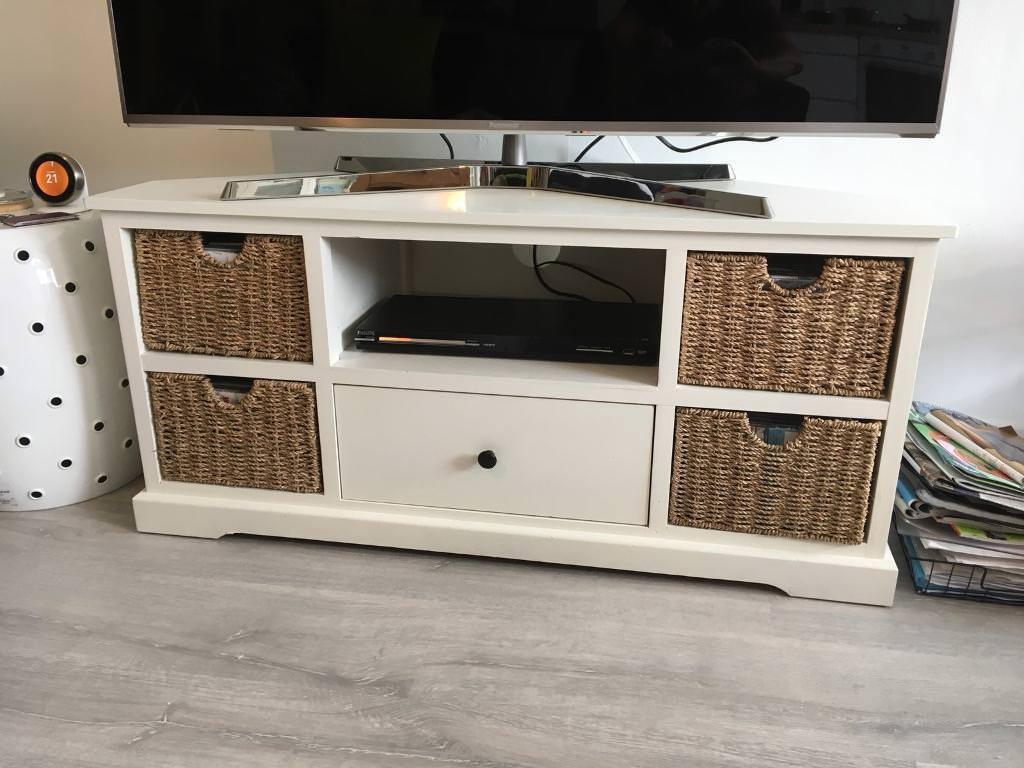 newest fa63e 077a9 Shabby chic corner TV stand off white with baskets   in Sneyd Park, Bristol    Gumtree