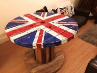 Urban chic industrial Union Jack cable drum table