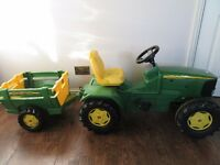 Kids Sit-On John Deere 6920 Tractor & Folding Tailgate Trailer by Rolly Toys For Sale.Mint Condition
