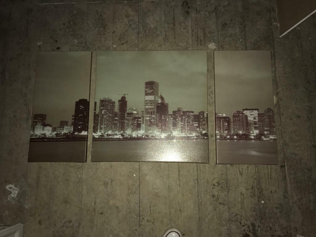 THREE PIECES PIECE WALL ART SKYLINE PICTURE CANVAS