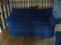 Pair of excellent 2.5 seater Wesley Barrell sofas in dark blue fabric