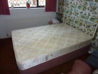 Double divan bed with mattress and headboard free