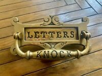 Antique Victorian brass letterbox and clapper