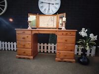 SOLID PINE FARMHOUSE DOUBLE DRESSING TABLE WITH TRIPLE TOP MIRROR VERY SOLID DRESSER