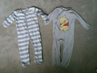2 x fleece onesies 1.5-2yrs h&m