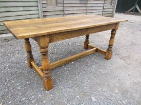 Beautifully Hand Stripped Solid Oak Refectory Dining Table - Danish Oil Finish