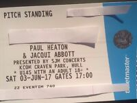 2 X PAUL HEATON & JACQUI ABBOTT TICKETS HULL CRAVEN PARK 03.06.2017