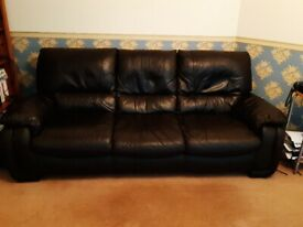 Very comfortable 3 seater brown leather Sofa for sale