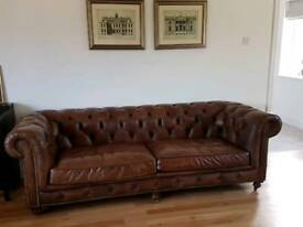 Tan Leather Virtually Brand New Barker and Stonehouse Asquith large 3 seater sofa we paid £3144