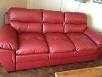 Excellent Condition Red Faux Leather Couch