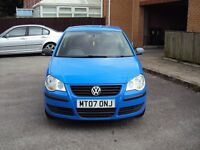 VOLKSWAGEN POLO 1.2 E 55 2007 BLUE ONE OWNER FROM NEW LOW MILEAGE+F.S.H+LONG MOT+2 KEYS FOR £1995
