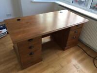Wooden desk W: 151cm D:76 H:71